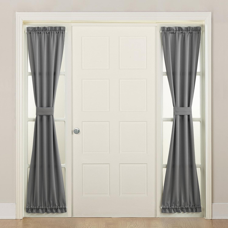 Sun Zero 12 Barrow Front Door Sidelight Curtain Panel with Tie Back, 12