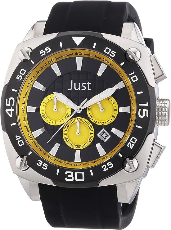 Just Watches 48-STG2373-YL - Reloj analógico de Cuarzo para Hombre, Correa de Goma Color Negro (cronómetro)