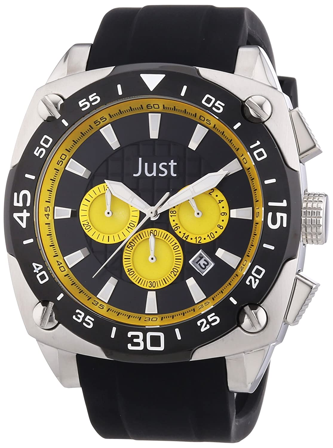 Just Watches Herren-Armbanduhr XL Analog Quarz Kautschuk 48-STG2373-YL