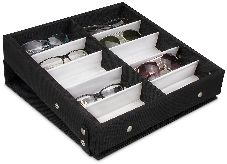 Espositore per Occhiali Dotato di Coperchio Pieghevole Nero 32 x 32 x 6 cm Grinscard Raccoglitore per 10 Occhiali