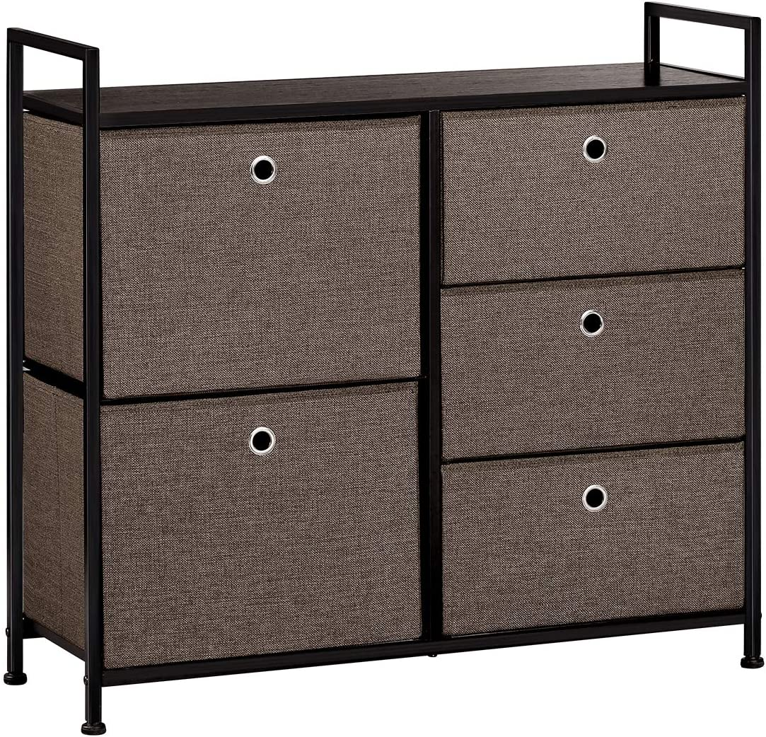 LANGRIA Faux Linen Wide Dresser Storage Tower with 5 Easy Pull Drawer and Handles, Sturdy Metal Frame, and Wooden Table, Organizer Unit for Guest, Dorm Room, Closet, Hallway, Office Area Dark Brown