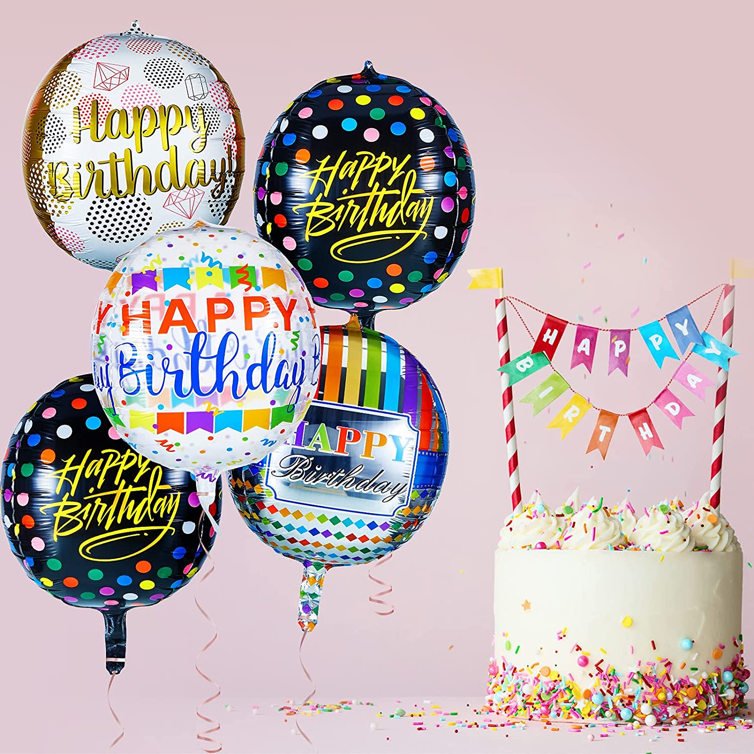 Vinsot 16 Pieces 4D Happy Birthday Foil Balloons Large Round Shaped Mylar Balloons 22 Inch Colorful Aluminum Foil Balloons Jumbo Balloons for Boys Girls Birthday Party Decoration Supply 8 Styles