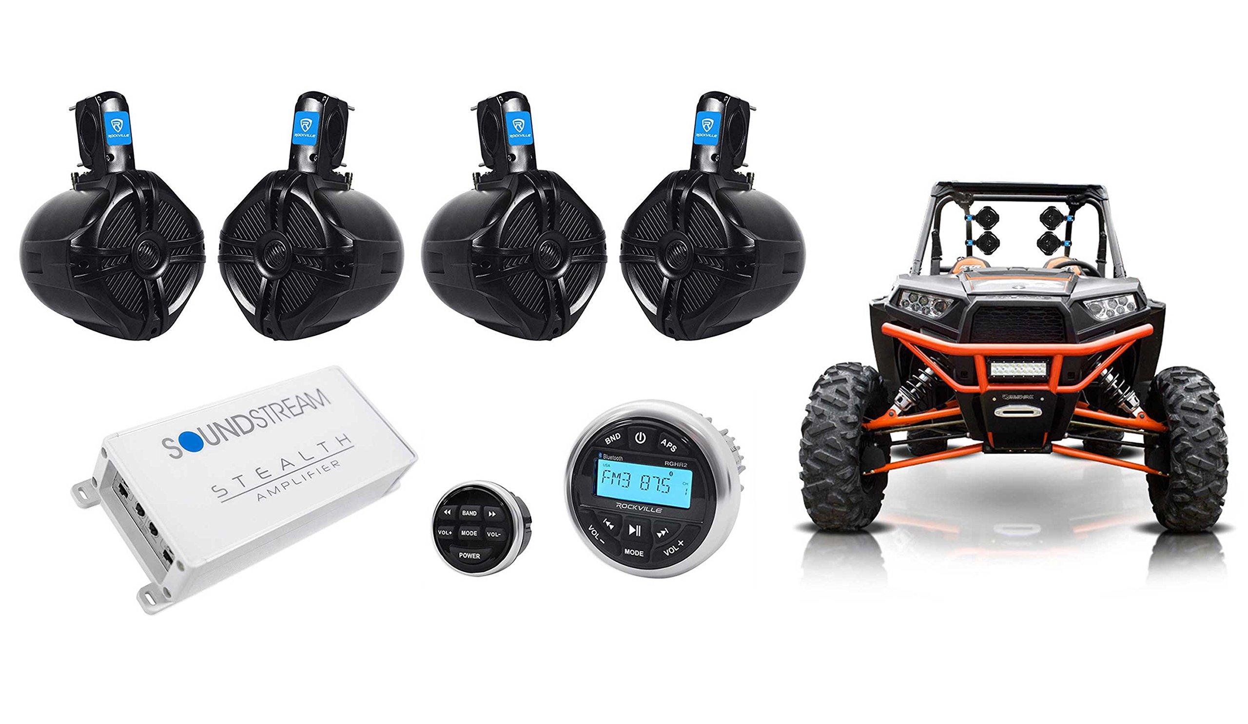 Rockville Bluetooth Receiver+4) 6.5'' Tower Speakers+4-Ch Amplifier RZR/ATV/UTV
