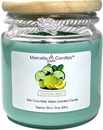 Amazon Com Scented Candle Cucumber Melon 16oz Scented Soy Candle Large 3 Wick Candle Set Also Includes Mini Soy Candle Cucumber Melon 16oz Home Improvement