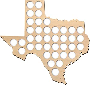 All States Beer Cap Map Texas - 14x13 inches - 38 caps - Texas Beer Cap Holder - Plywood