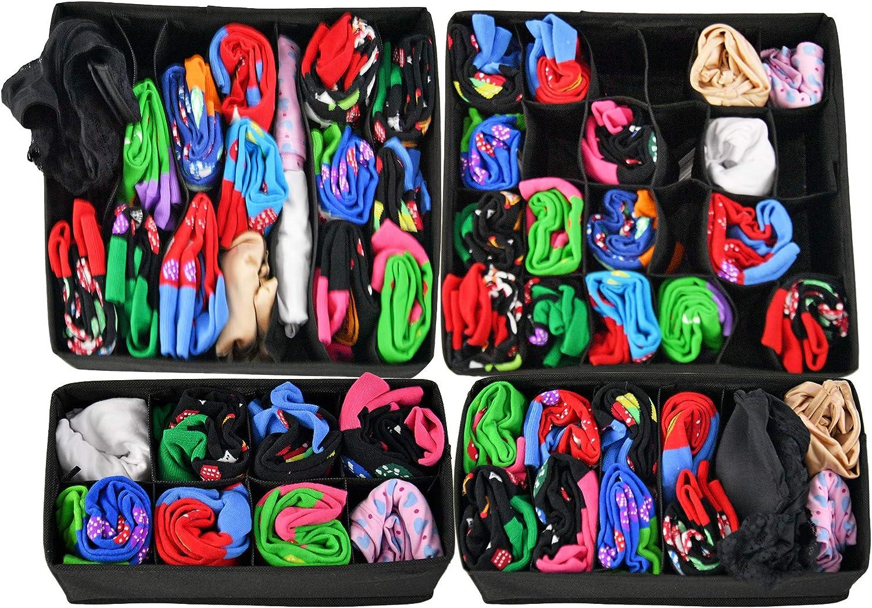 HOME-X 4-Piece Drawer Organizer Set, Storage Drawer Dividers - Black