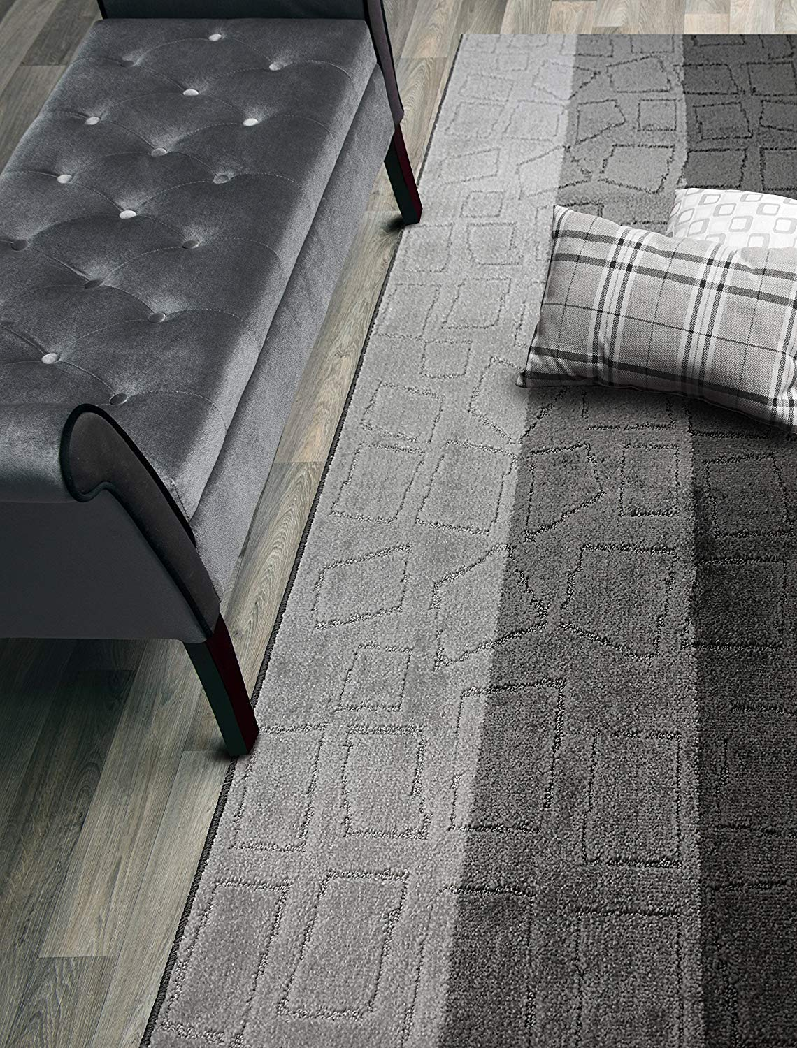 ORFA HOME Custom Size Hallway Runner Rug, Slip Resistant, 26 Inch Wide X Your Choice of Length, Squares Anthracite, 26 Inch X 10 feet