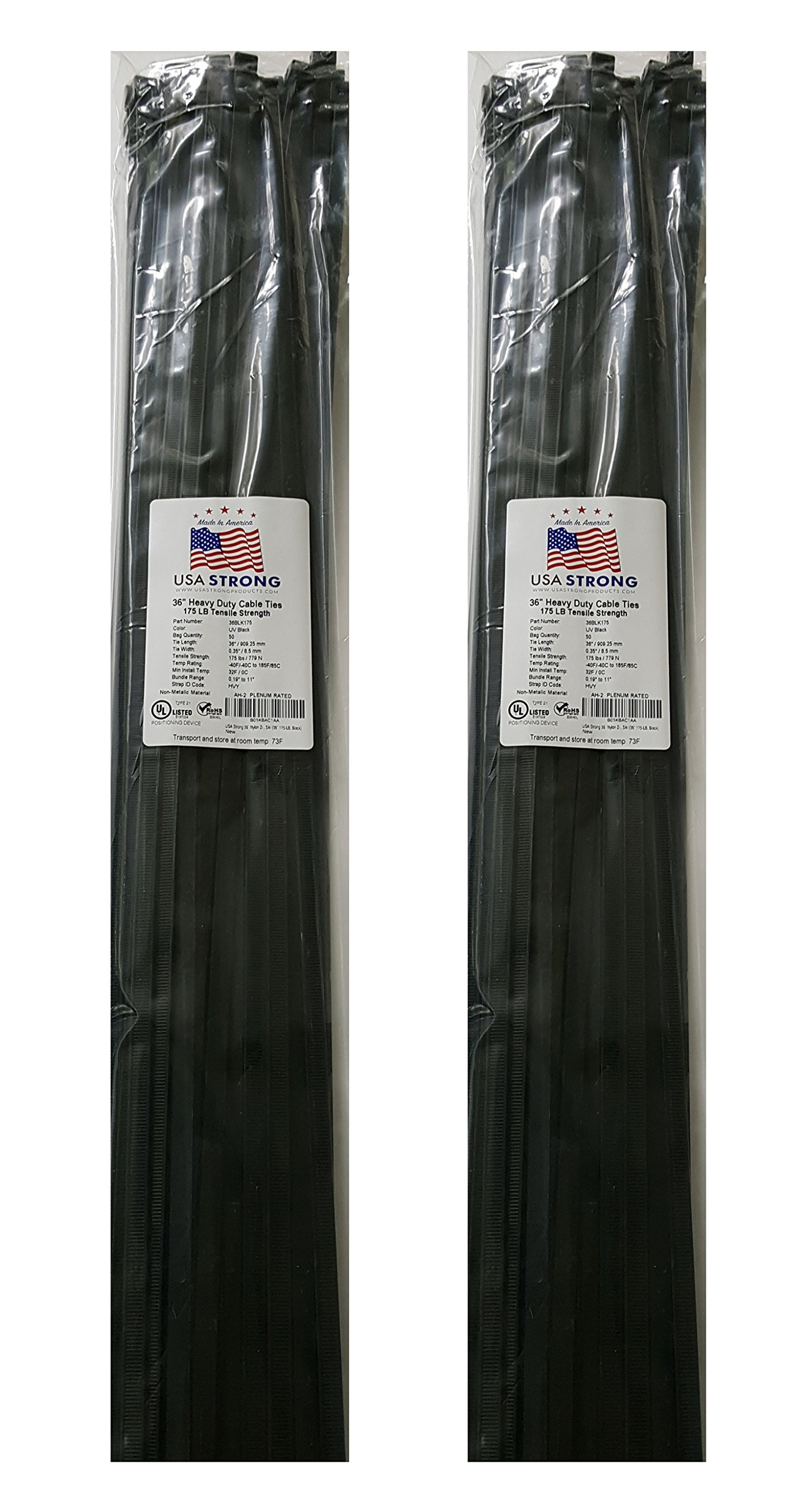 Extra Heavy Duty Cable Ties. Large Nylon Industrial Grade 175 LB Tensile Strength. Premium Zip Ties by USA Strong Products. 50 Pack or Bulk Wholesale (36 Inch (2X50 Packs), Black)