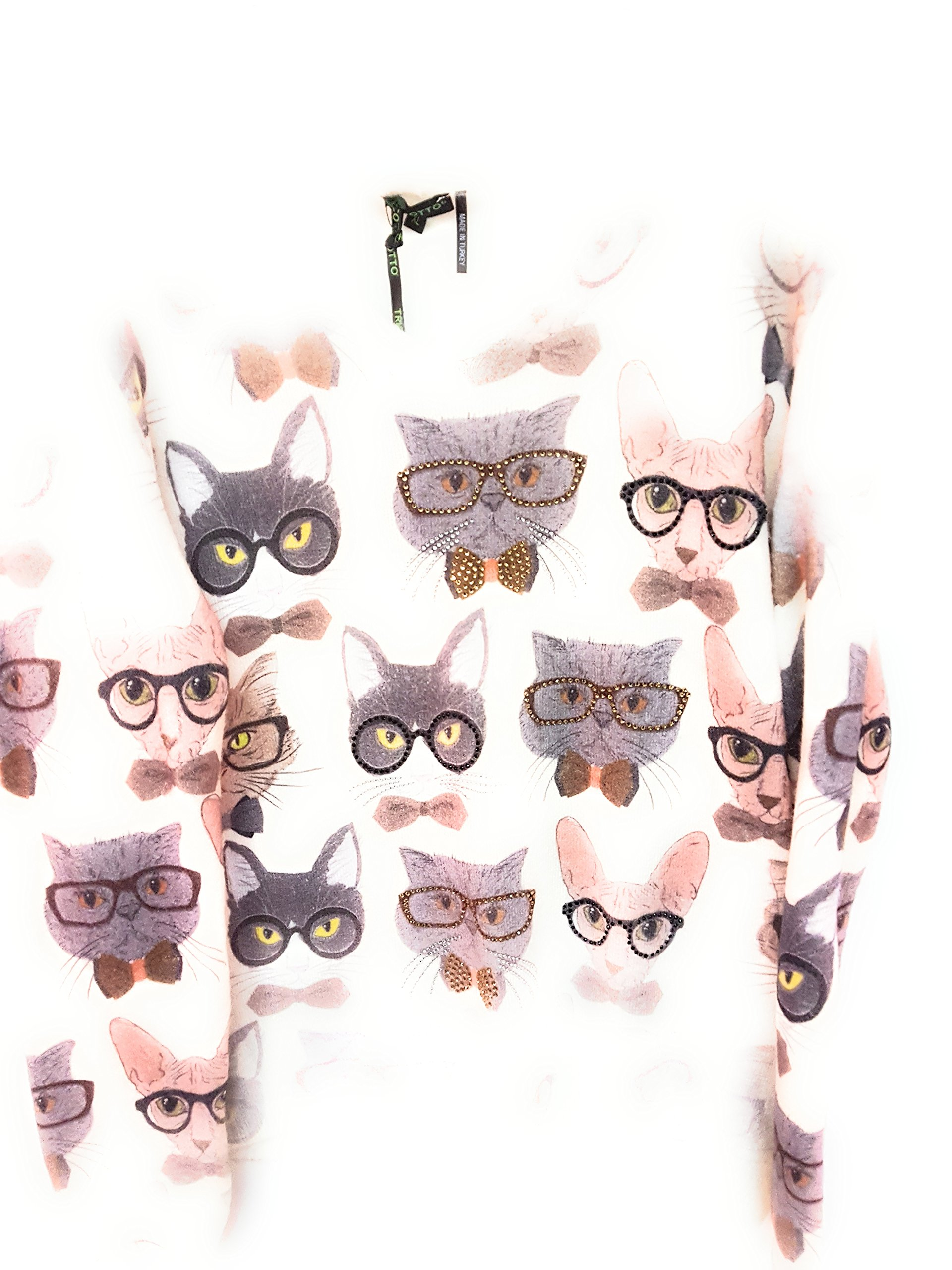Mode Tricotto Ladies Cats With Glasses Sweater