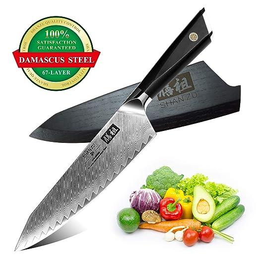 SHAN ZU Cuchillo de Cocina de Damasco de 20cm AUS10 Cuchillo de Cocina de 67 Capas de Acero de Damasco Profesional Cuchillos Afilados de Alto Carbono ...