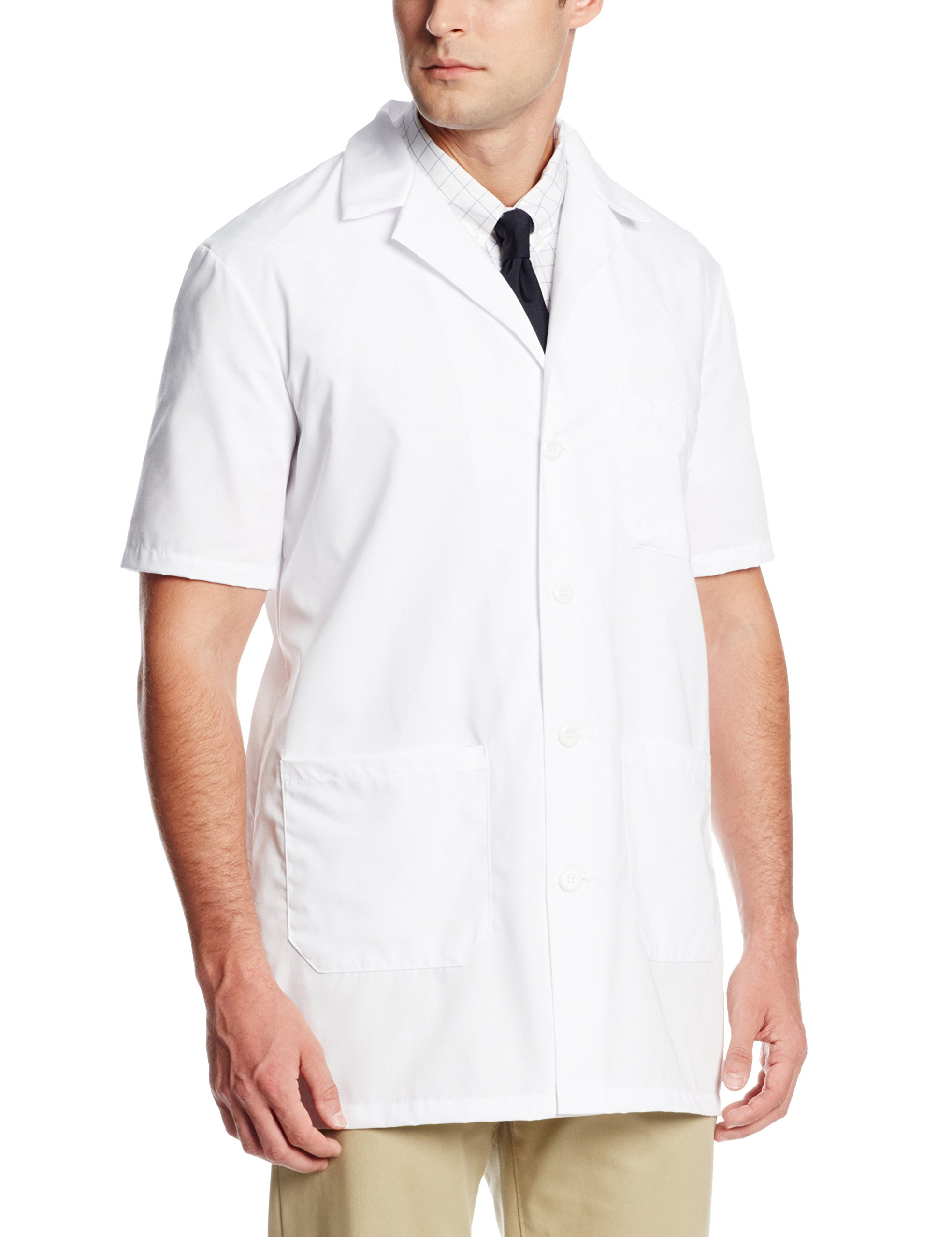 Worklon 3409 Polyester/Cotton Unisex Short Sleeve Pharmacy Lab Coat with Button Closure, Medium, White