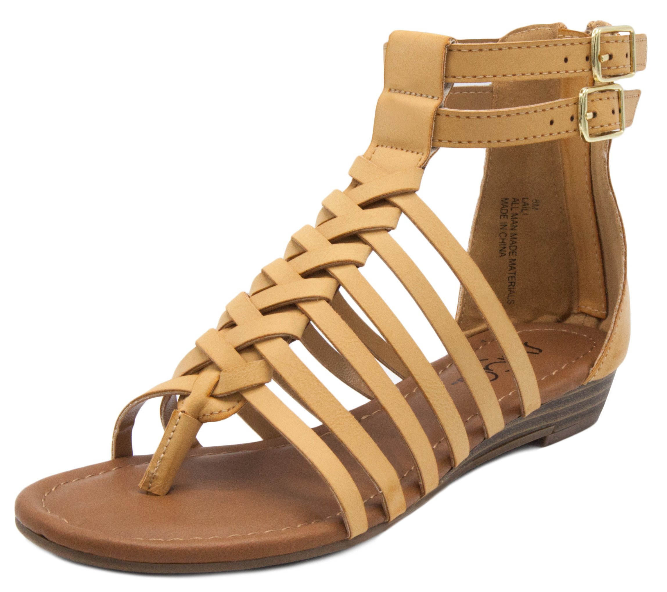 Sugar Women's Laili Sandal Strappy Gladiator Demi Wedge with Buckle Natural 10