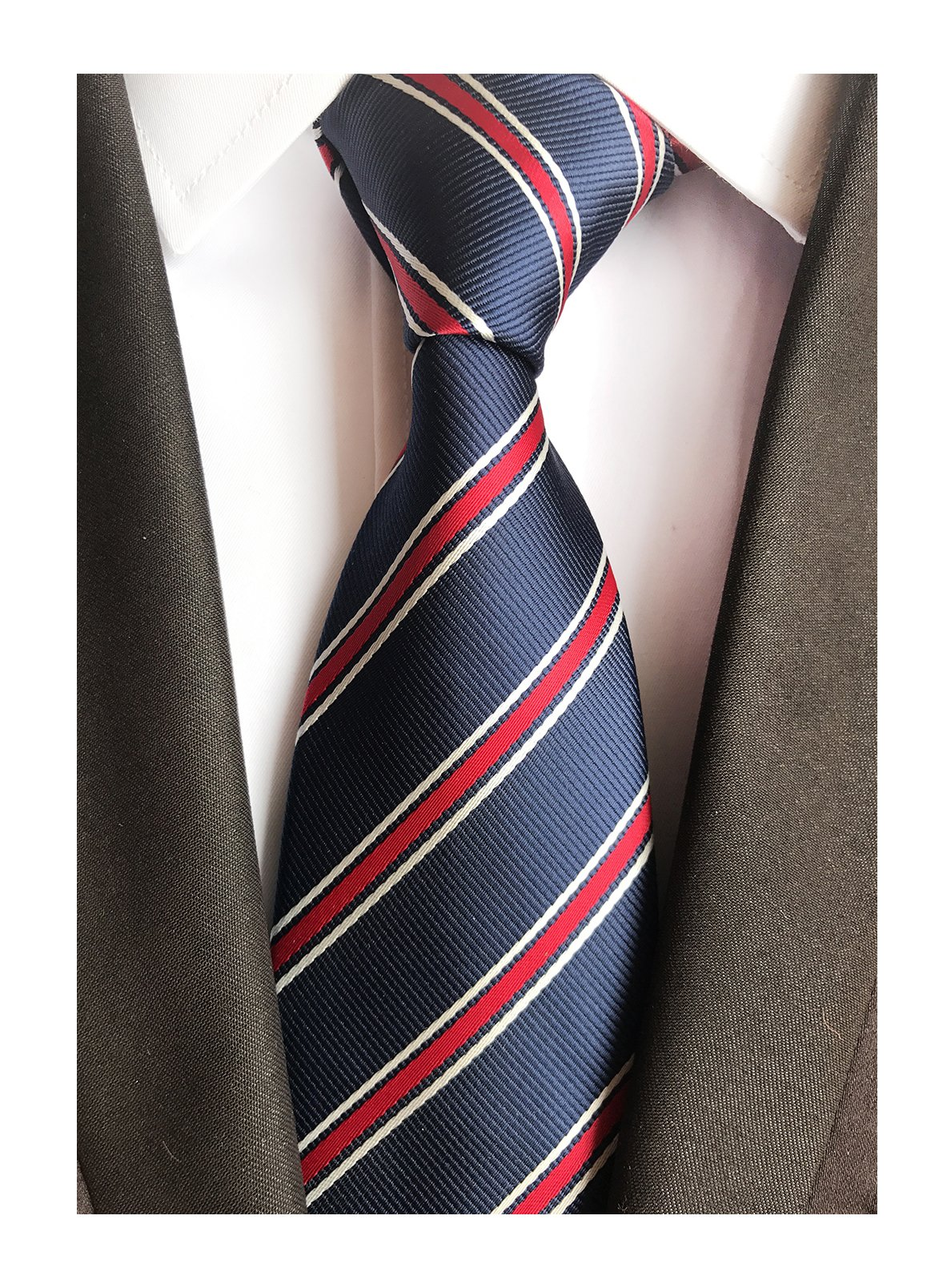 Men's Repp Navy Blue Red White Fine Striped Silk Tie Daily Dress Meeting Necktie by Elfeves (Image #1)