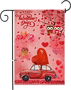 Hexagram Valentine's Garden Flag 12 x 18 Inch,Double Sided Valentine Burlap Yard Flags Decorative Valentine's Day, Red Truck with Love Heart Signs for Home Outdoor Decoration