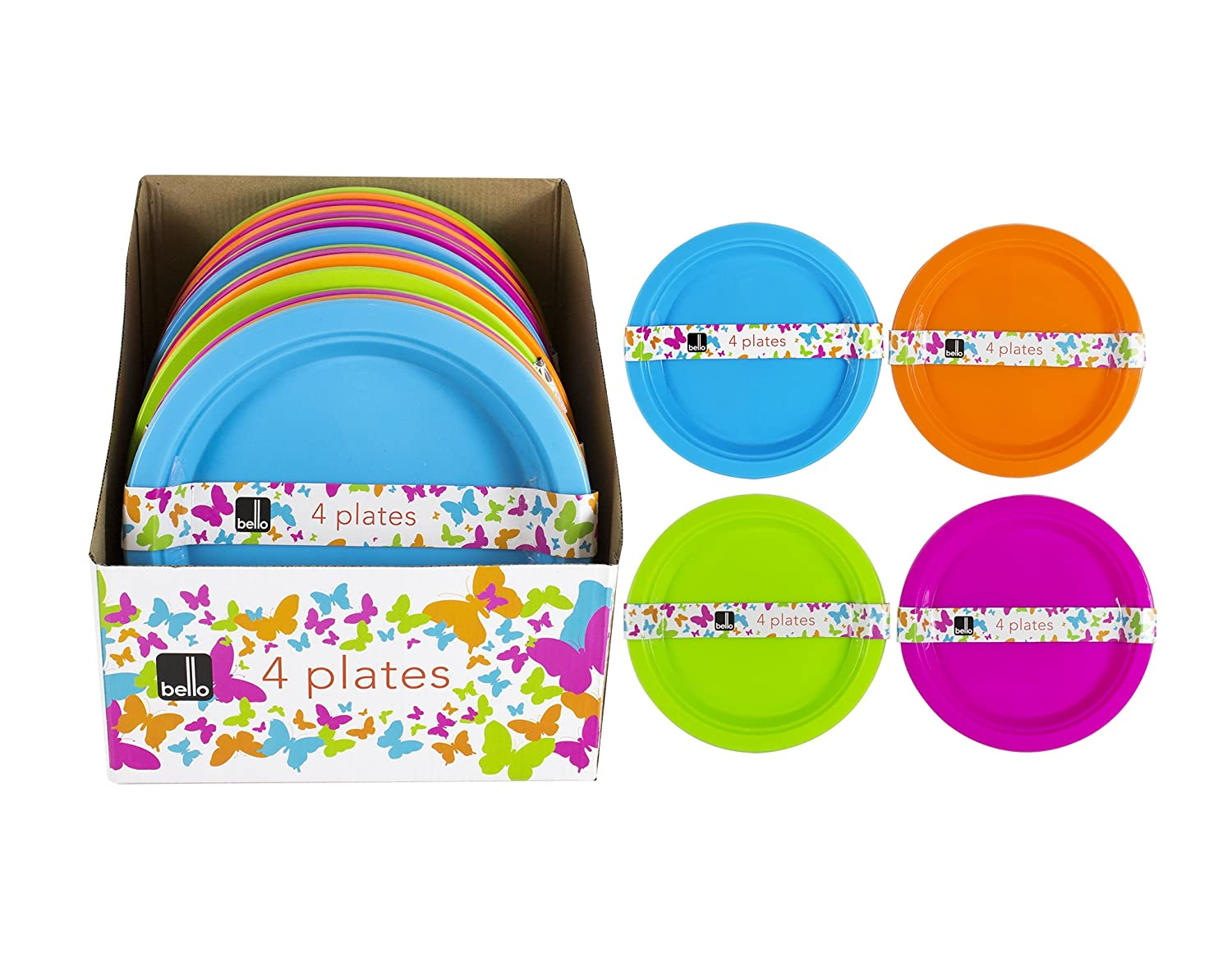 ALANNAHS ACCESSORIES 4 Reusable Plastic Picnic Party Bbq Camping Plates 4 Colour Choices 23cm