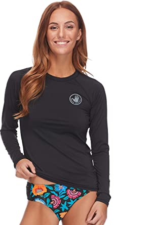 Body Glove Women s Smoothies Sleek Solid Long Sleeve Rashguard with UPF 50  Black b078ebdeb607