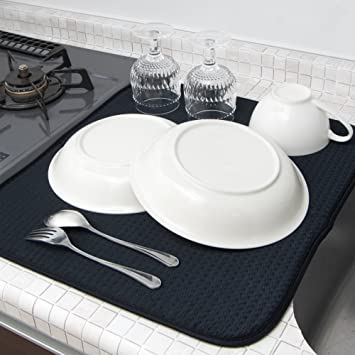 Amazon|mikketa 水切りマット キッチン 食器 大判 速乾 吸水 ブラック ...
