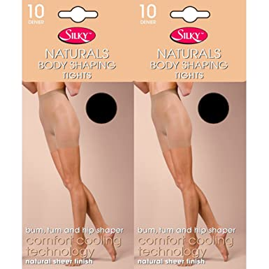 d672bfdbaea26 Silky 10 Denier Natural Body Shaping Tights (2 Pair Pack) (Medium (36