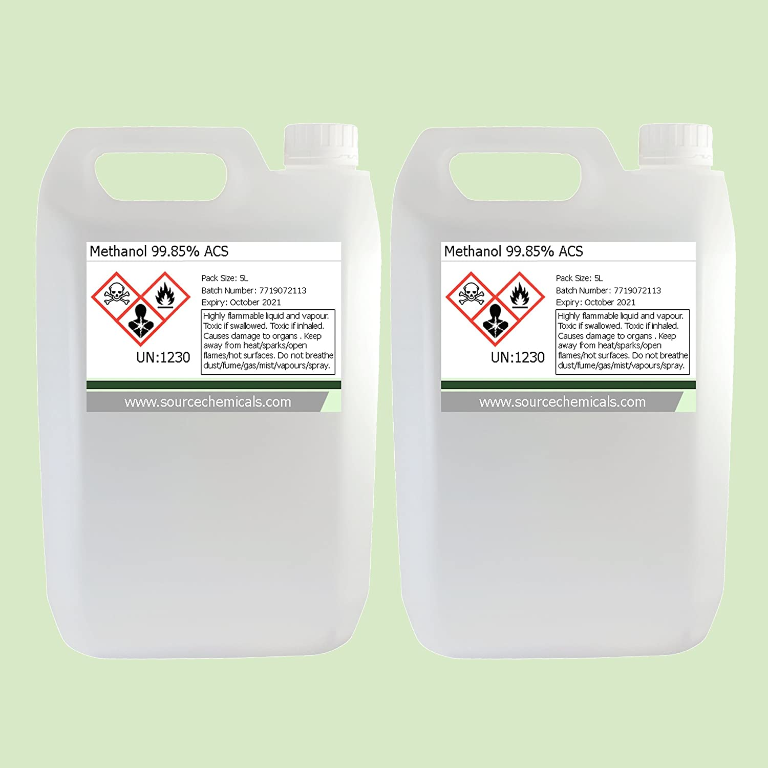 Methanol (Methyl Alcohol) 2 x 5 Litre (10L) Including Courier Delivery Source Chemicals M-2X5L-FR