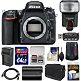 Nikon D750 Digital SLR Camera Body with 64GB Card + Battery & Charger + Messenger Bag + GPS Adapter + Flash + Kit