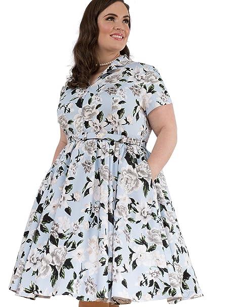 Emily London Womens Plus Size Samantha Retro Zip Front Dress Navy ...