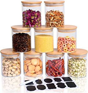 Hoanra 9 Piece Glass Storage Jars Set with Airtight Bamboo Lids and Labels, 15oz Glass Jars-Small Food Storage Containers for Kitchen Pantry to Store Tea Powder Coffee Spice Candy Nuts