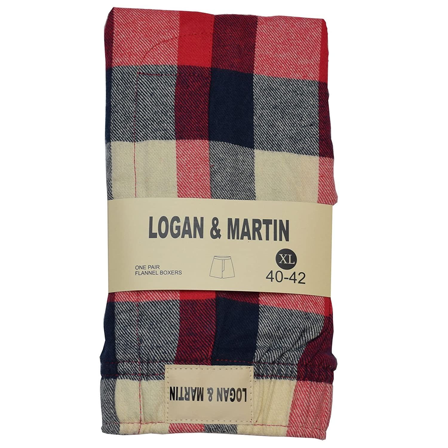 Logan and Martin Men's 100% Cotton Flannel Boxers in XL or XXL