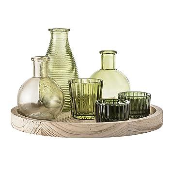 Amazonde Bloomingville Holztablett Mit Gefäßen Und Vasen 7 Teilig