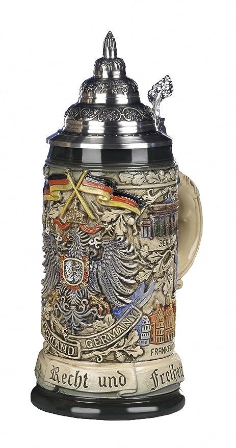 German Beer Stein black Deutschland pewter eagle Stein 0.5 liter tankard beer mug KI 415-SZA 0,5L Deutschland King