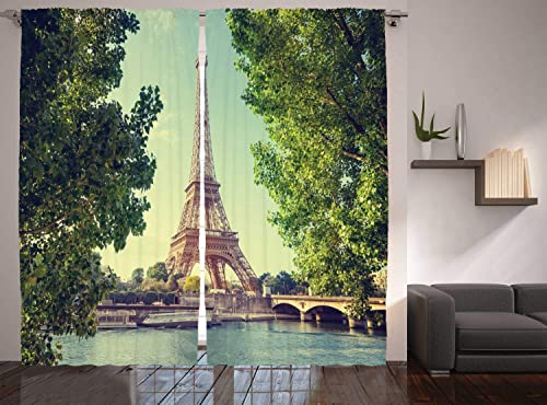 Ambesonne Paris Decor Curtains, Eiffel Tower Seine River Summer Picture, Window Drapes 2 Panel Set for Living Room Bedroom, 108 W X 84 L Inches