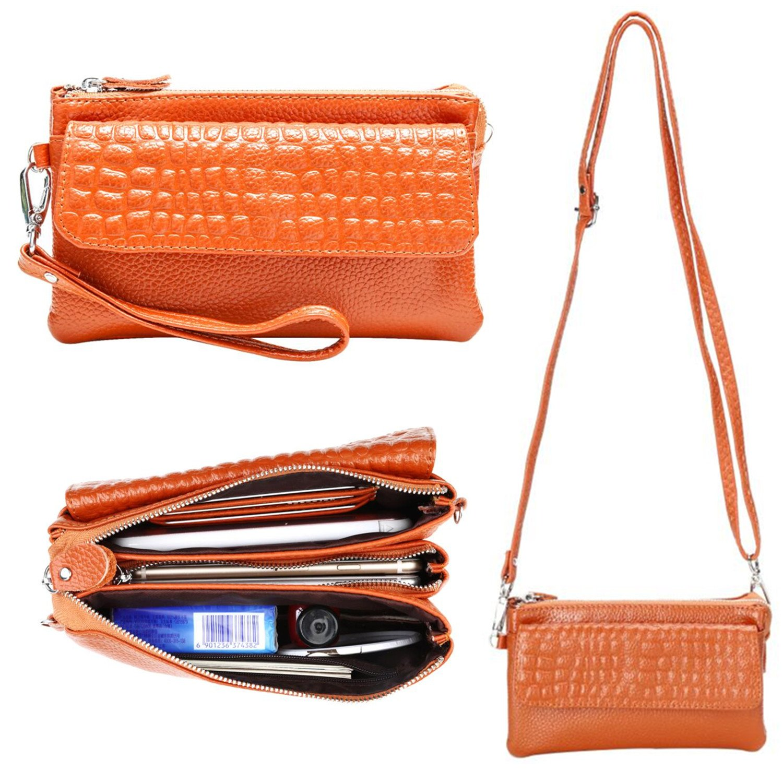 Women Soft Genuine Leather Smartphone Wristlet Purse Cell Phone Cross Body Bag Wallet Clutch Handbag with Card Slots/Shoulder Strap/Wrist Strap (Orange)