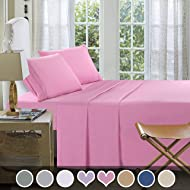 Loom & Mill Microfiber Bedding Sets - New Design Extra Soft 1800 Series Bed Sheet Set - Deep Pocket, Wrinkle, Fade, Stain Resistant, Hypoallergenic - 4 Piece(Twin, Pink-Greek Key)
