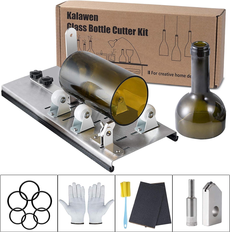 Kalawen Herramienta de Cortador de Botellas de Vidrio Ajustable, Máquina de Corte de Acero Inoxidable para Vino, Cerveza, Licor, Whisky, Alcohol, Champán, Botellas Redondas de Soda