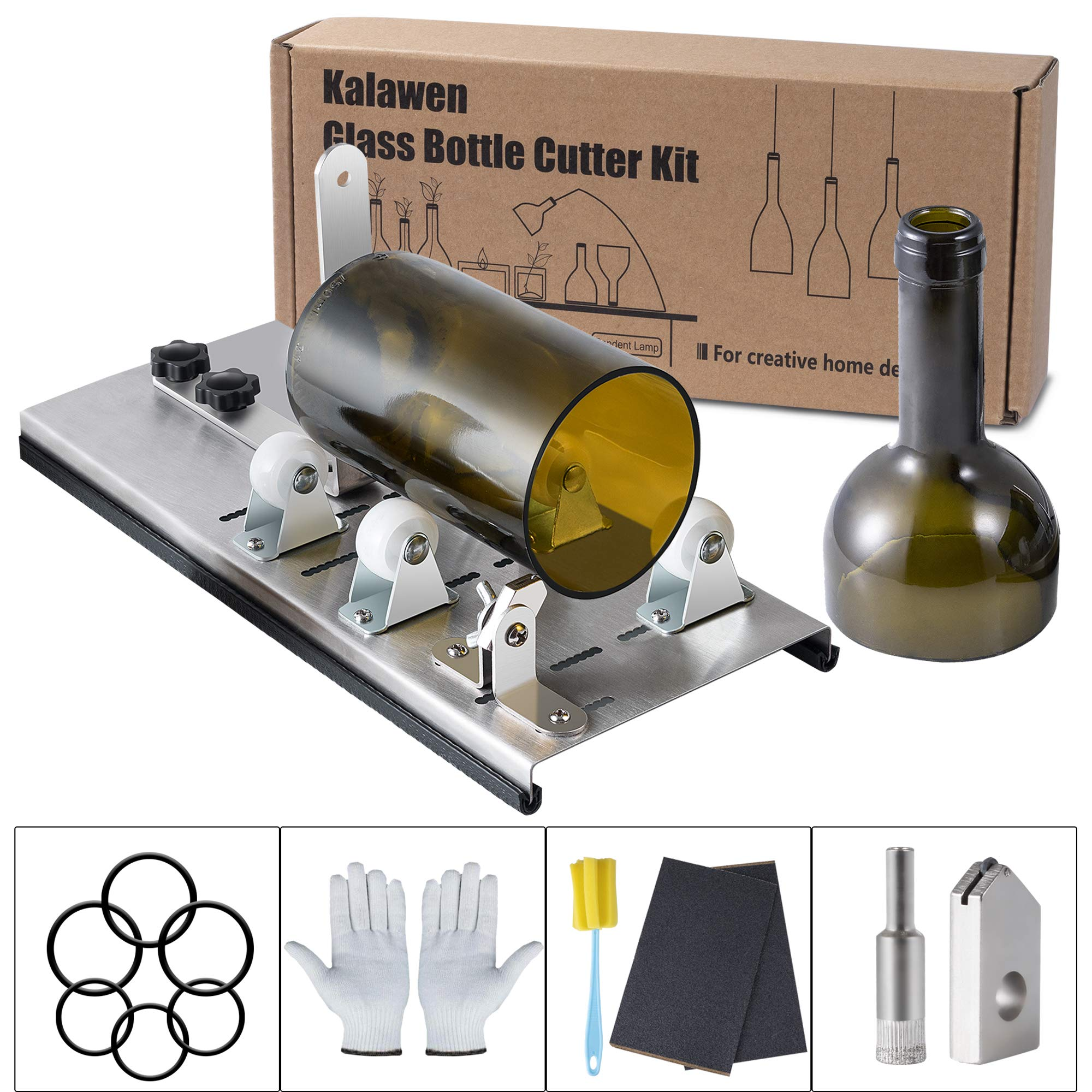Kalawen Glass Bottle Cutter Bottle Cutter Latest Version DIY Machine for Cutting Wine Beer Whiskey Alcohol Champagne to Craft Glasses Accessories Tool Kit Gloves Fixing Rubber Ring by Kalawen (Image #1)