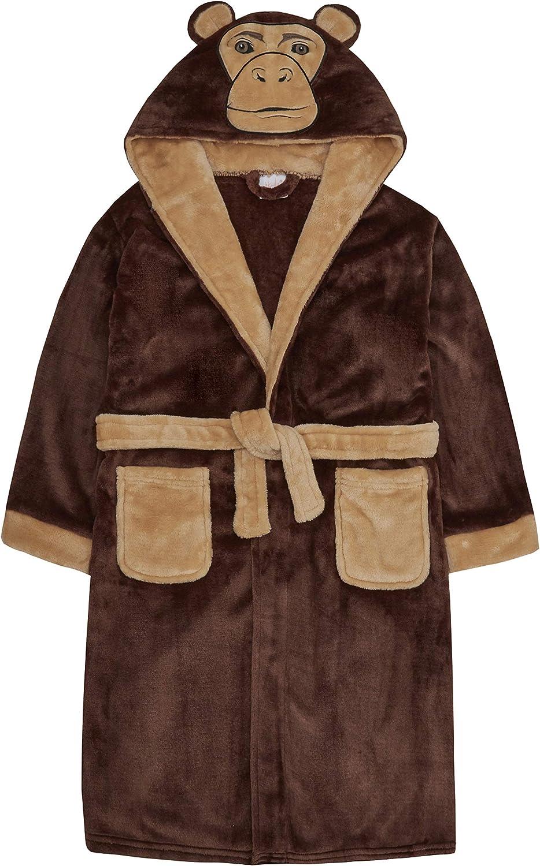 Girls Boys Bathrobe Kids Animal Brown Monkey Dressing Gown Fleece Nightwear