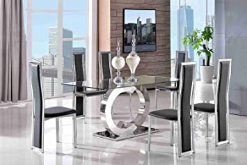 Channel Modern Glass Dining Table (160 L X 90 W X 75 H Cm)