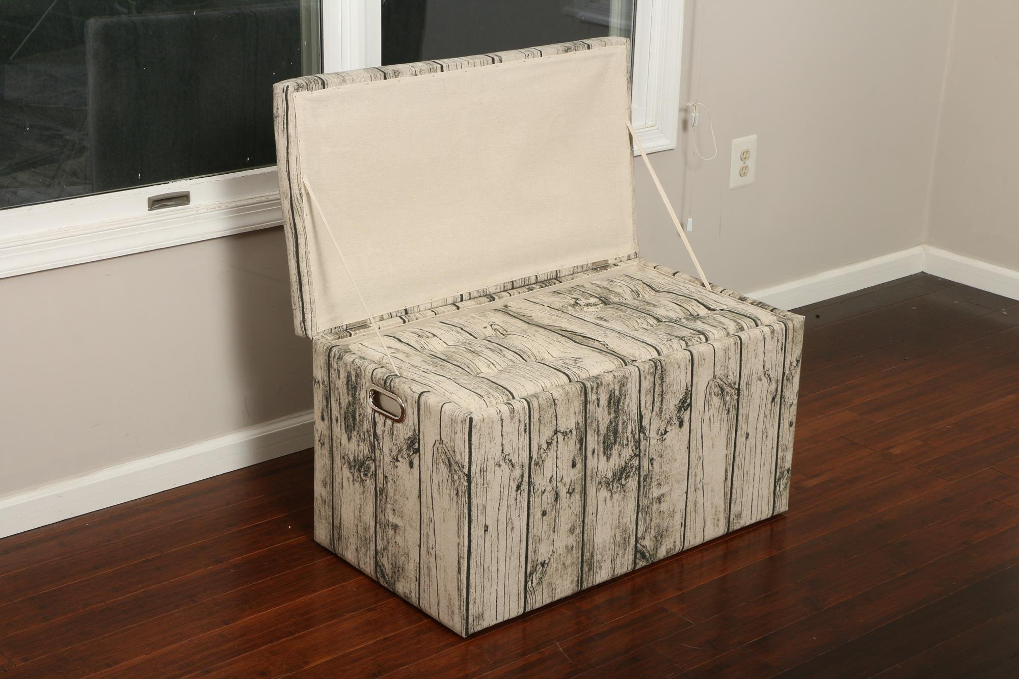 Oliver and Smith  Cloth Storage Ottoman With - 3 Ottomans & 2 Stools - 33'' x 17.5'' x 18.5'' - 1343 Barn Door Wood by Smith & Oliver (Image #4)