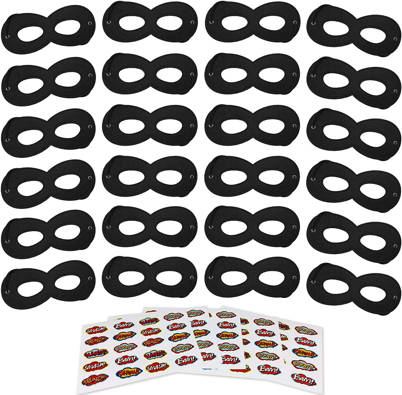 Superhero Masks, Black Felt Eye Masks, Adjustable Half Masks for Kids