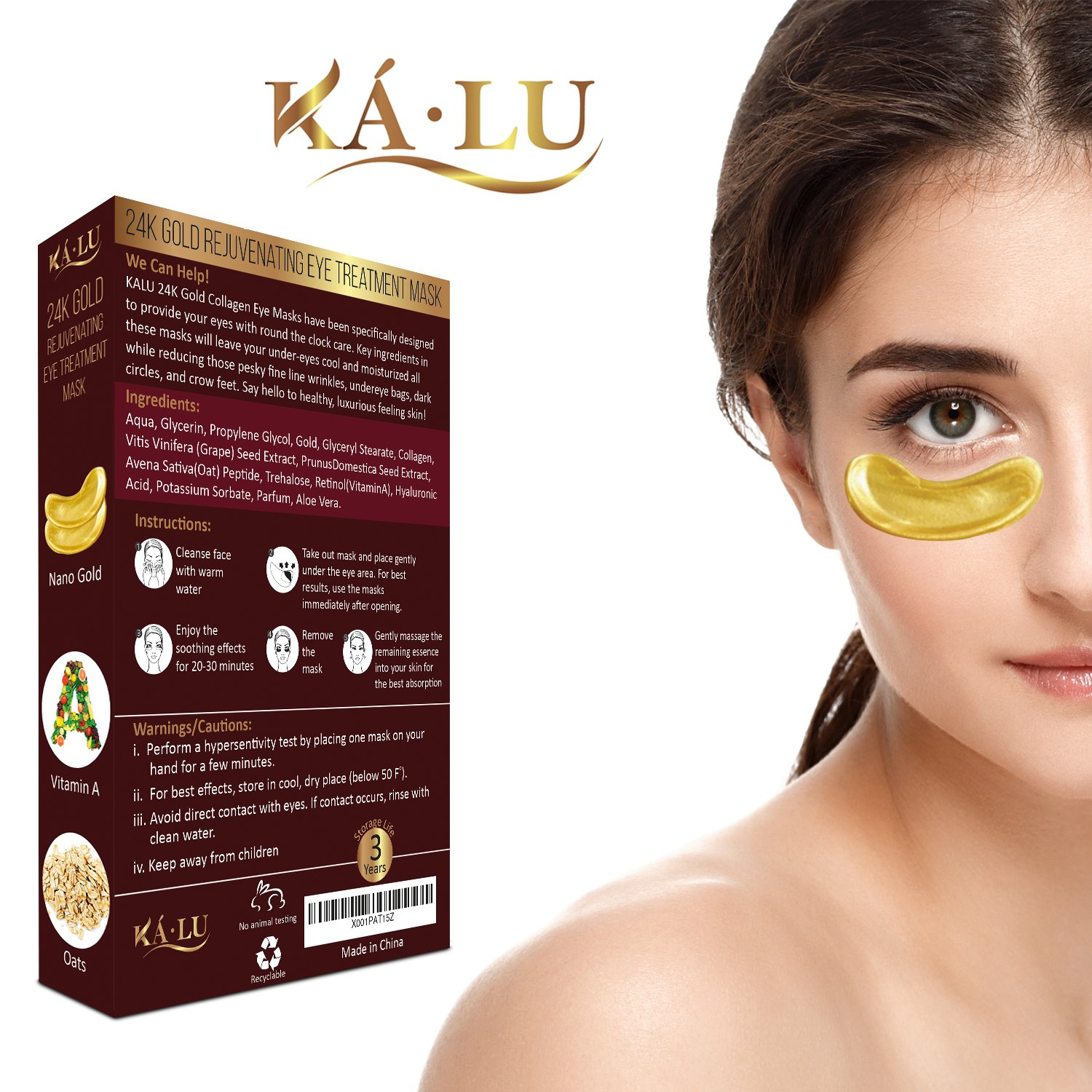 Amazon.com: 24K Gold Rejuvenating Eye Treatment Mask - Reduce Puffiness and Dark Circles under Eyes - Anti Aging, Wrinkle care Gold Collagen Pads for Women ...