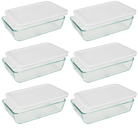 Pyrex 3 Cup Rectangle Glass Food Storage Containers With White Plastic  Lids.Use For