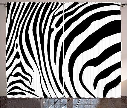 Ambesonne Zebra Print Decor Collection, Zebra Animal Skin Pattern Nature  Desert Life Theme Simple Stylish