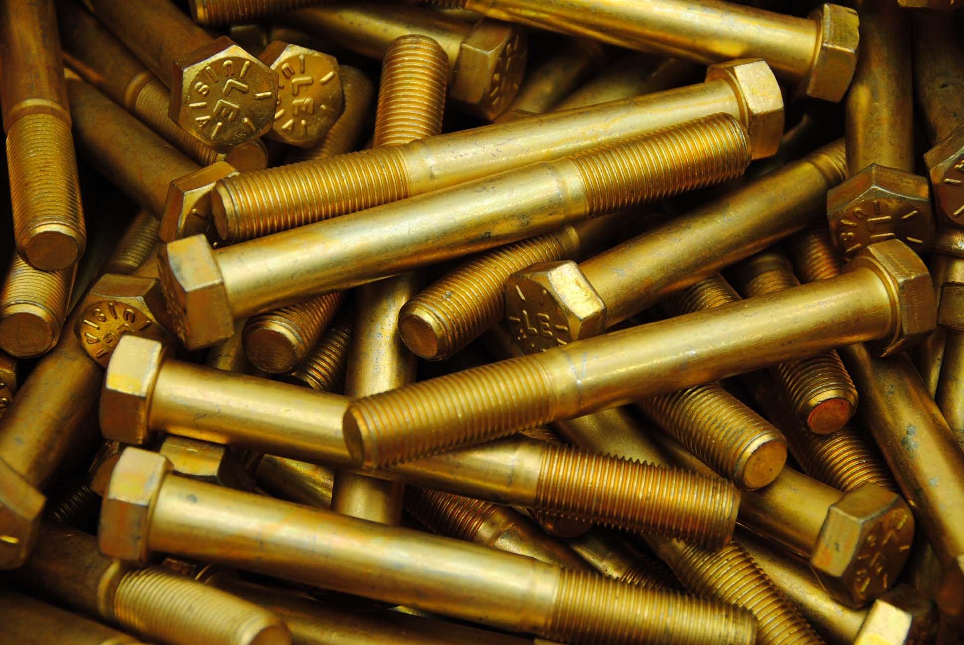 (15) Hex Head Bolts 9/16-18 x 4-1/2 Grade 8 Fine Thread Yellow Zinc USA Made by Lexar Industrial