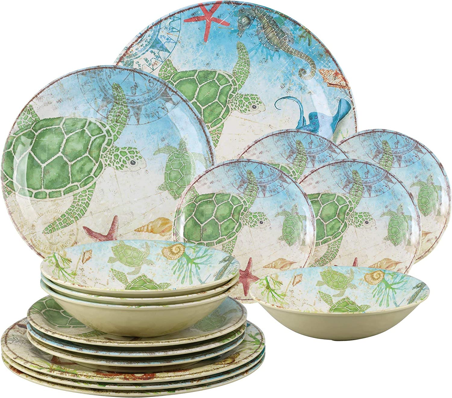 Gourmet Art 16-Piece Sealife Turtle Heavyweight and Durable Melamine Dinnerware Set, Service for 4. Includes Dinner Plates, Salad Plates, Dessert Plates and Bowls. for Indoors Outdoors Everyday Use