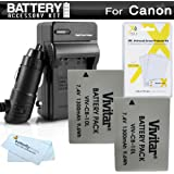 2 Pack Battery And Charger Kit For Canon PowerShot SX40 HS, SX50 HS, SX50HS, G15, PowerShot G16, SX60HS, SX60 HS, G3 X Digital Camera Includes 2 Extended Replacement NB-10L Batteries Plus Charger