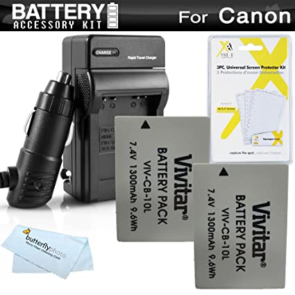 amazon com 2 pack battery and charger kit for canon powershot sx40