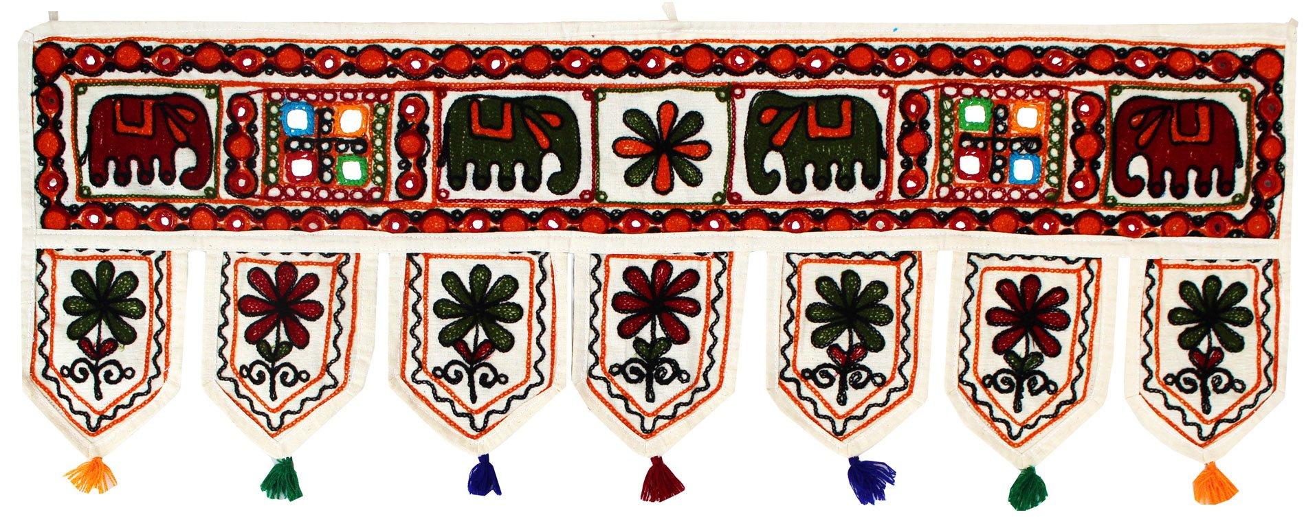 Indian Toran Door Decoration Window Valance Handmade (Off-White, 34 x 13 inches)