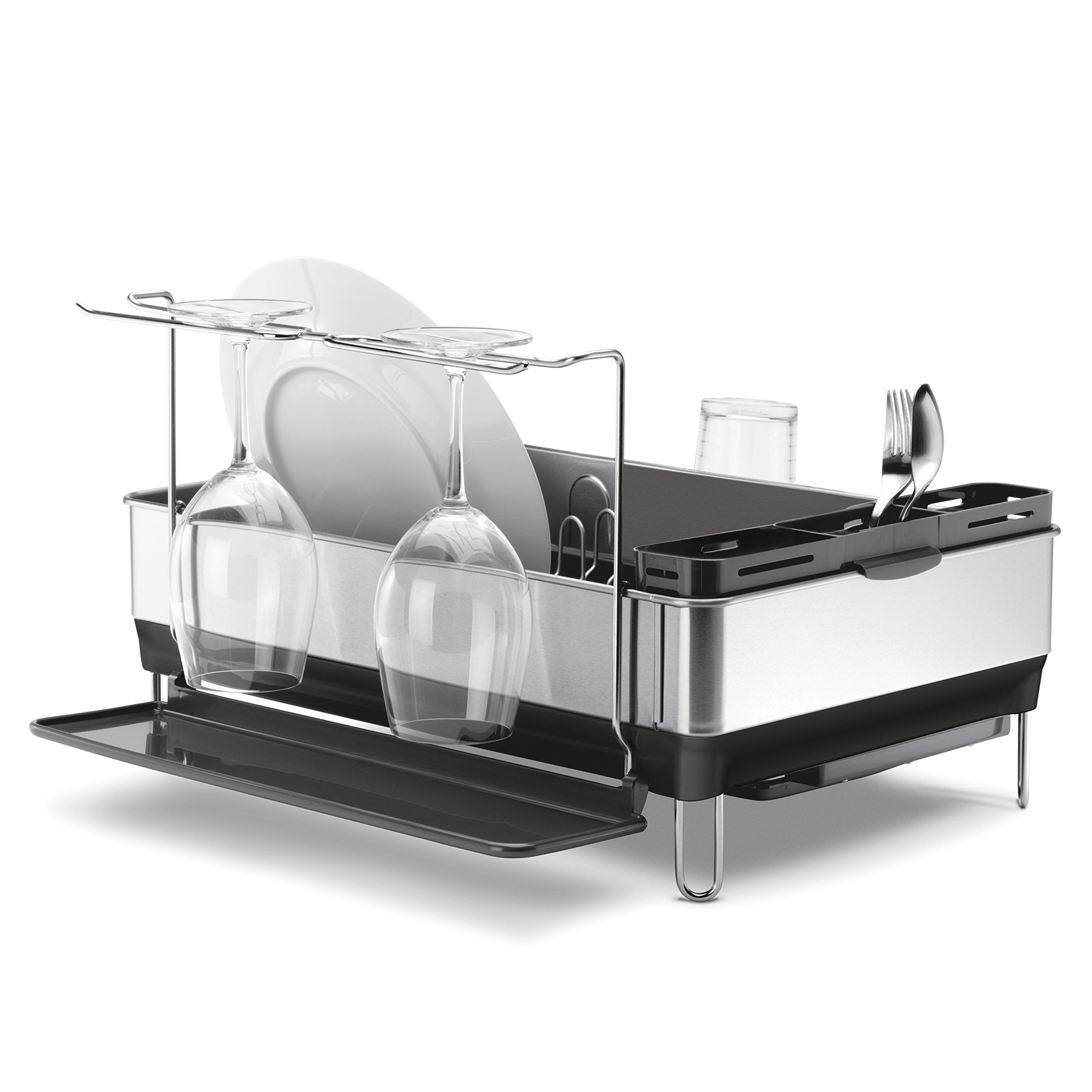 simplehuman Kitchen Steel Frame Dish Rack With Swivel Spout, Fingerprint-Proof Stainless Steel Frame, Grey Plastic by simplehuman (Image #3)