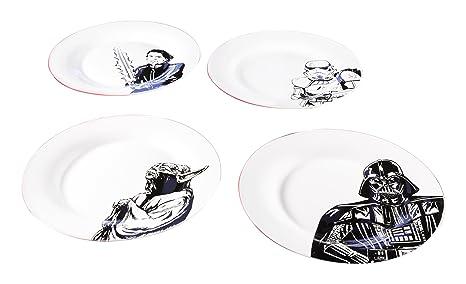 Zak Designs Star Wars Ceramic Dinner Plate Set Yoda Stormtrooper Luke Skywalker u0026  sc 1 st  Amazon.com & Amazon.com | Zak Designs Star Wars Ceramic Dinner Plate Set Yoda ...