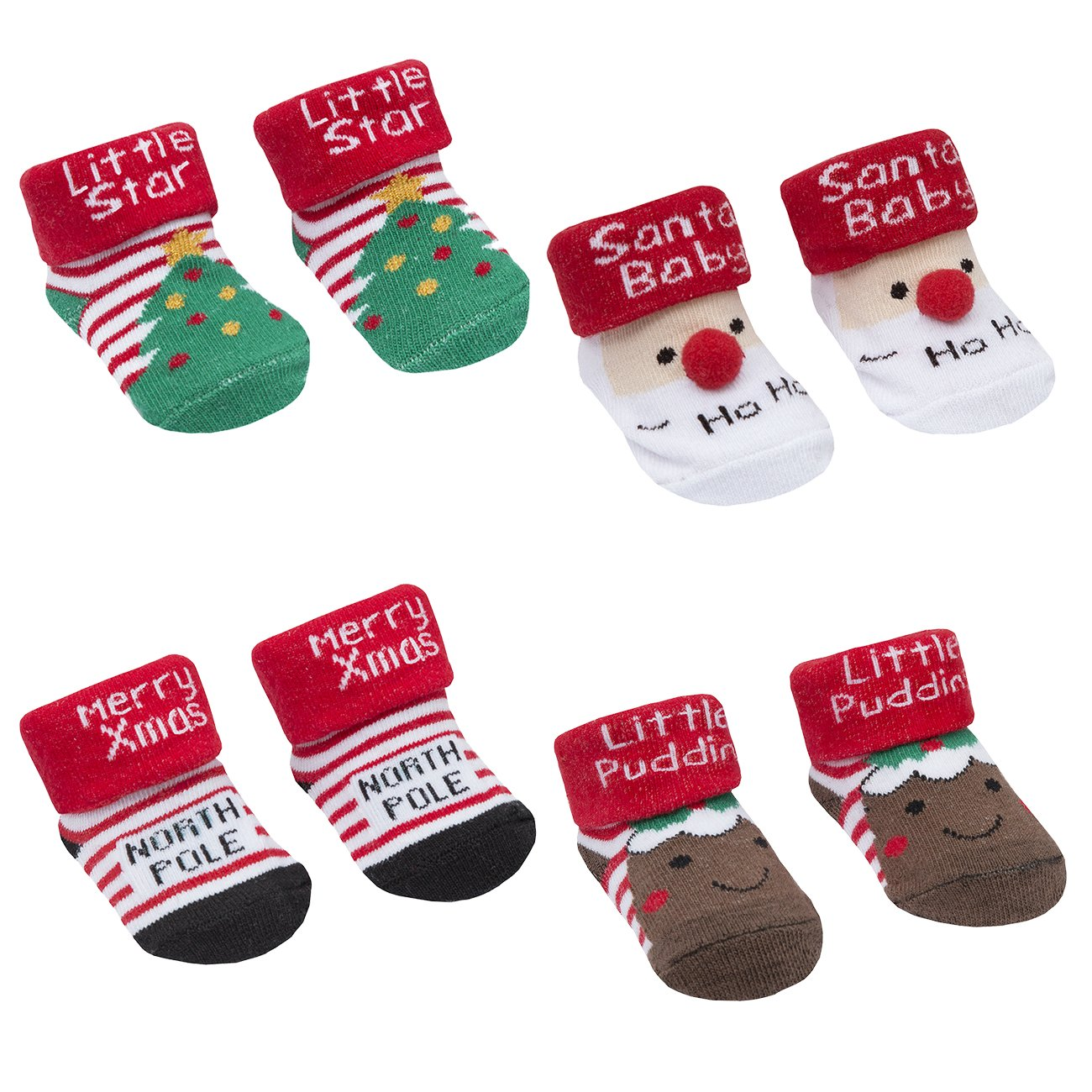Newborn Baby Toddler Kids Infant Girl Boy Unisex Cute Three-Dimensional XMAS Socking Socks Slipper Shoes Boots 3D Bootie Socks 0-12 Month New Born