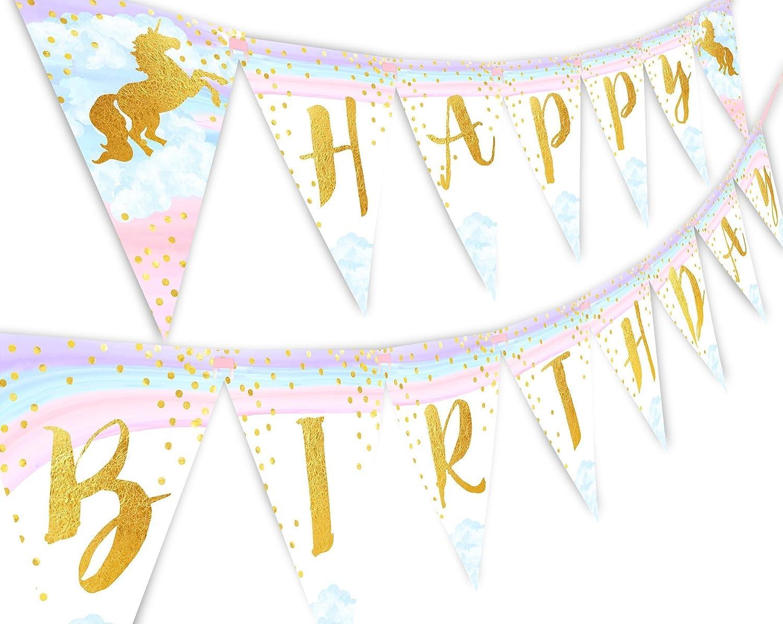 Magical Unicorn Rainbow Happy Birthday Banner Pennant sz tree
